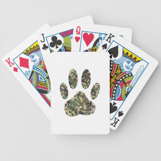 Distressed Camo Dog Paw Print Bicycle Playing Cards