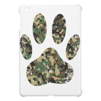 Distressed Camo Dog Paw Print Cover For The iPad Mini