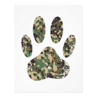 Distressed Camo Dog Paw Print Customized Letterhead