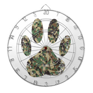 Distressed Camo Dog Paw Print Dartboard