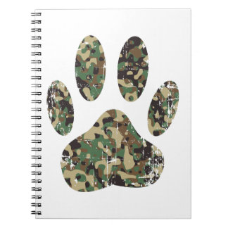 Distressed Camo Dog Paw Print Notebook