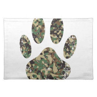 Distressed Camo Dog Paw Print Placemat