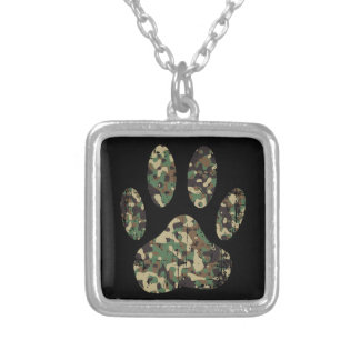 Distressed Camo Dog Paw Print Silver Plated Necklace