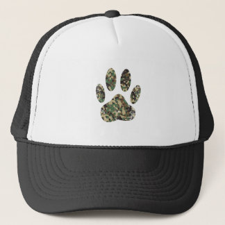 Distressed Camo Dog Paw Print Trucker Hat