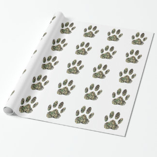 Distressed Camo Dog Paw Print Wrapping Paper