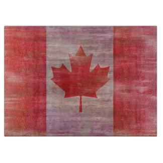 Distressed Canada Day maple leaf red & white flag Cutting Board
