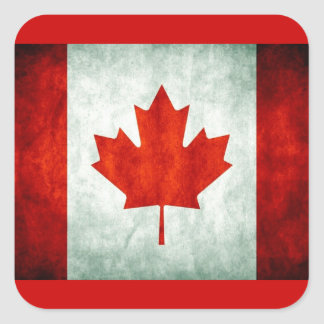 Distressed Canada Flag Square Sticker