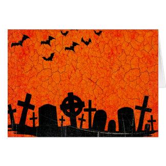Distressed Cemetery - Orange Black Halloween Print Card