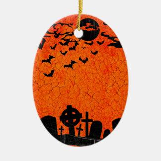 Distressed Cemetery - Orange Black Halloween Print Ceramic Oval Ornament