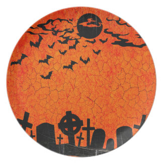 Distressed Cemetery - Orange Black Halloween Print Party Plates