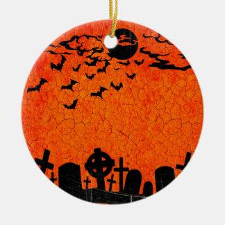 Distressed Cemetery - Orange Black Halloween Print Round Ceramic Ornament