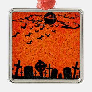 Distressed Cemetery - Orange Black Halloween Print Silver-Colored Square Ornament