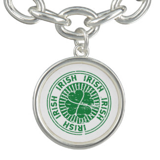 distressed clover irish stamp seal charm bracelets