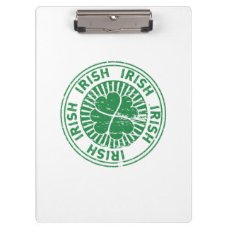 distressed clover irish stamp seal clipboard