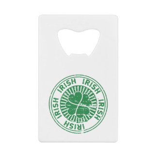 distressed clover irish stamp seal credit card bottle opener