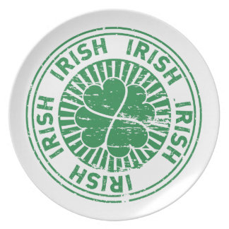 distressed clover irish stamp seal dinner plate