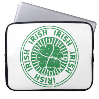 distressed clover irish stamp seal laptop computer sleeve