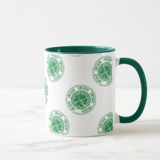 distressed clover irish stamp seal mug