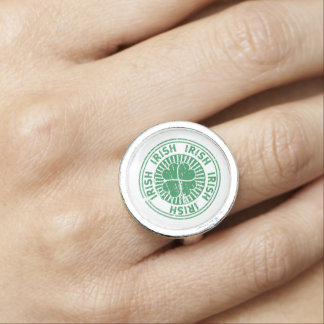 distressed clover irish stamp seal ring