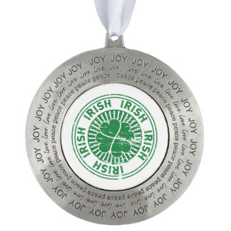 distressed clover irish stamp seal round pewter ornament