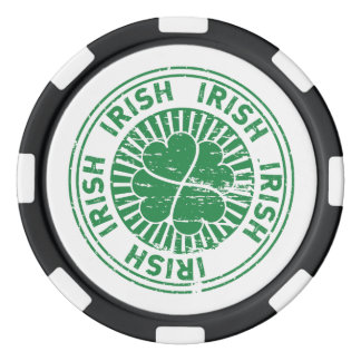 distressed clover irish stamp seal set of poker chips