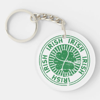distressed clover irish stamp seal Single-Sided round acrylic keychain