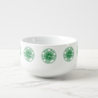 distressed clover irish stamp seal soup mug
