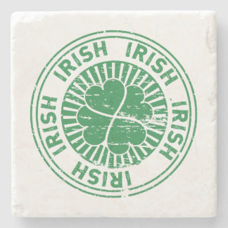 distressed clover irish stamp seal stone coaster