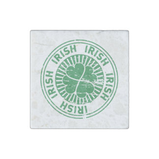 distressed clover irish stamp seal stone magnets
