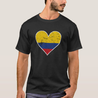 Distressed Colombian Flag Heart T-Shirt
