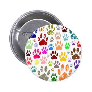 Distressed Colorful Dow Paw Prints 2 Inch Round Button