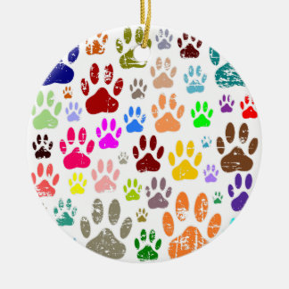 Distressed Colorful Dow Paw Prints Ceramic Ornament