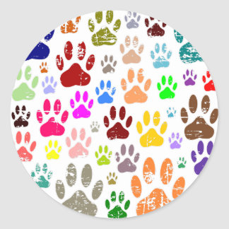 Distressed Colorful Dow Paw Prints Classic Round Sticker