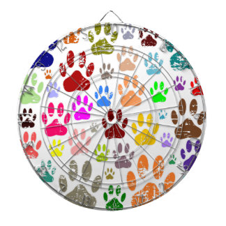 Distressed Colorful Dow Paw Prints Dartboard