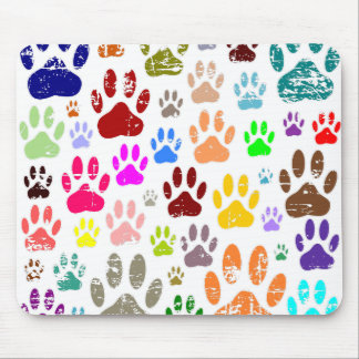 Distressed Colorful Dow Paw Prints Mouse Pad