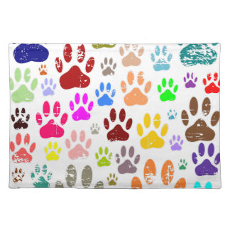 Distressed Colorful Dow Paw Prints Placemat