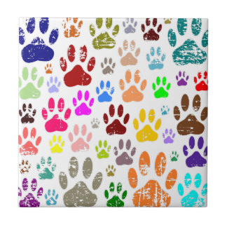 Distressed Colorful Dow Paw Prints Tile