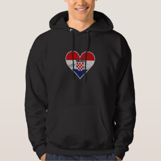 Distressed Croatian Flag Heart Hoodie
