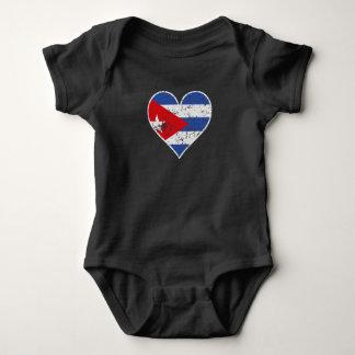 Distressed Cuban Flag Heart Baby Bodysuit
