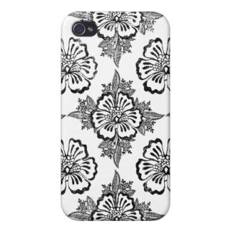 Distressed damask floral hibiscus silhouette cover for iPhone 4