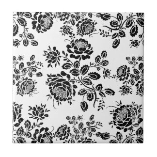 Distressed damask floral roses flowers pattern hot tile