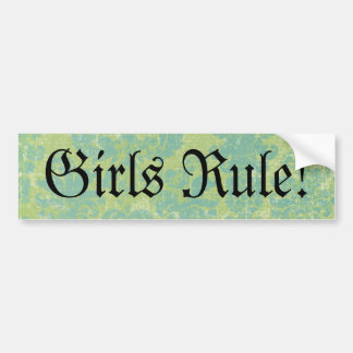 Distressed Damask Girls Rule! Bumper Sticker