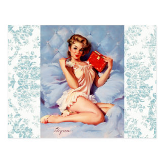 Distressed Damask Pinup postcard