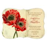 Distressed Damask Poppy Wedding Invitations