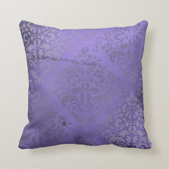 Distressed Damask Purple Throw Pillow