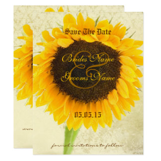 Distressed Damask Sunflower Wedding Save the Date Card