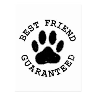 Distressed Dog Paw Best Friend Guaranteed Postcard