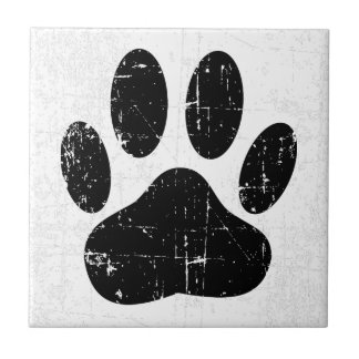 Distressed Dog Pawprint Tile