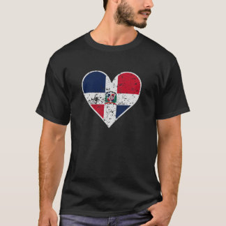Distressed Dominican Flag Heart T-Shirt