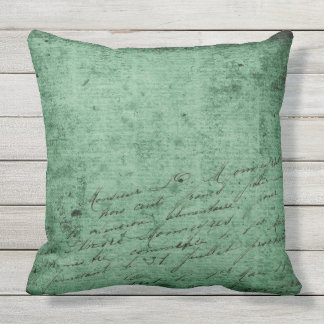 DISTRESSED EMERALD CALLIGRAPHY Throw Cushion